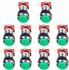 10x Chrome Bezel Green LED Arcade Push buttons