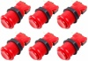 6x Arcade Buttons with Concave Plunger - Red