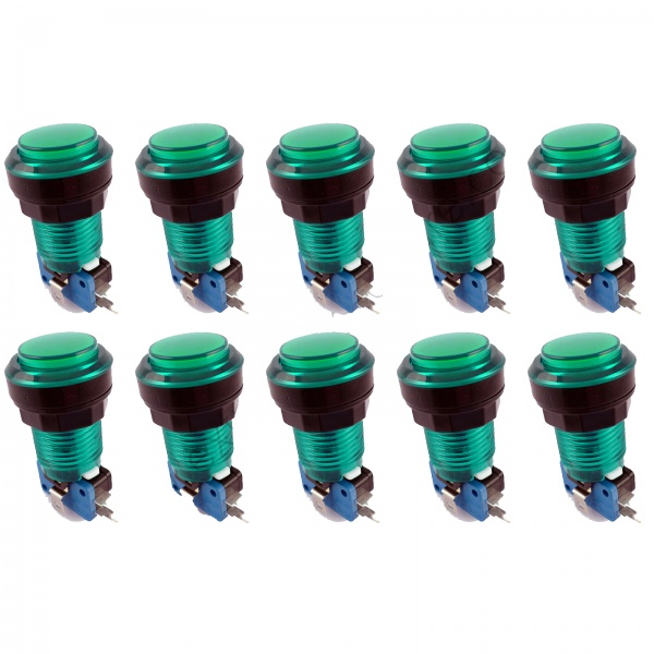 10x Translucent Green LED Arcade Push buttons
