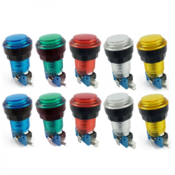 10x Translucent LED Arcade Push buttons - Mixed Colours