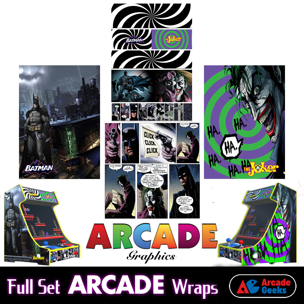 Bartop Arcade Machine Artwork Graphics Full Set – Sticker Graphics – Batman v Joker