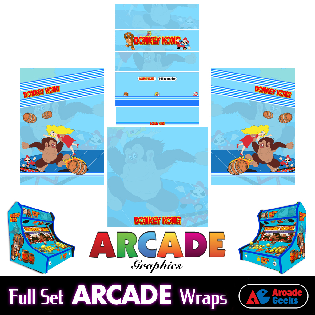 Bartop Arcade Machine Artwork Graphics Full Set – Sticker Graphics – Donkey Kong 02