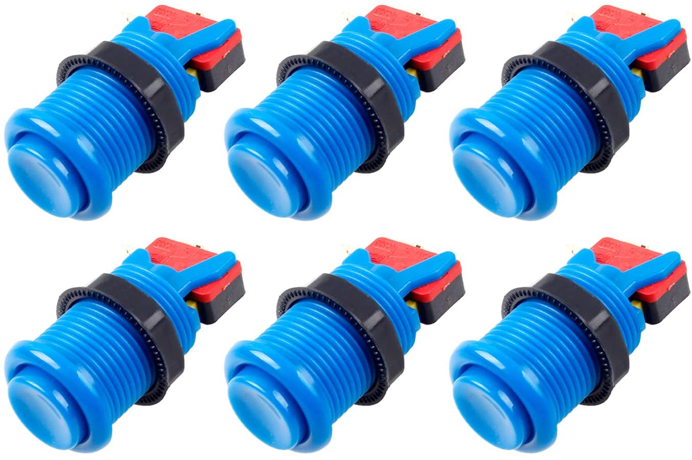 6x Arcade Buttons with Concave Plunger - Blue