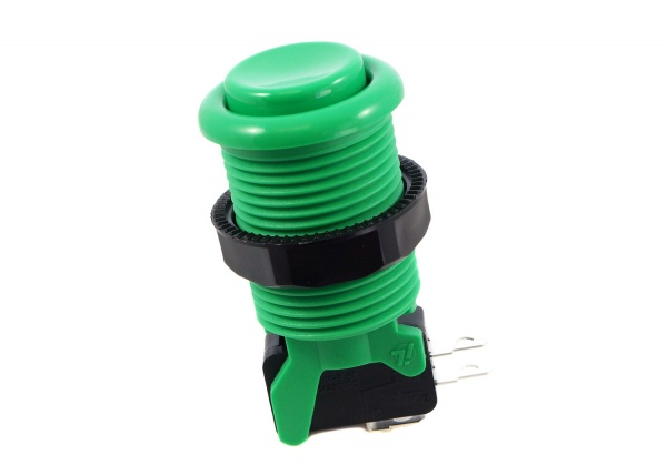 Arcade Button with Concave Plunger - Green