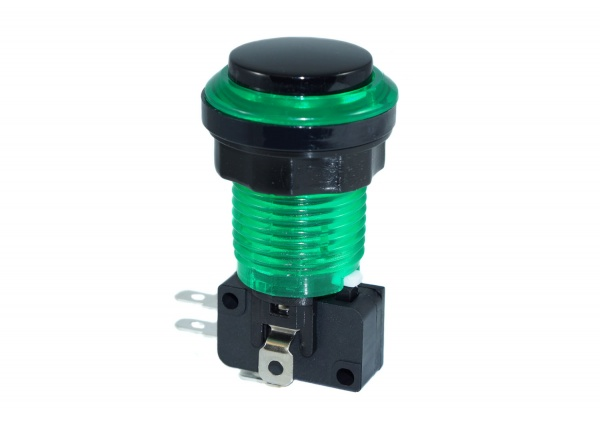 Eclipse Green  LED Arcade Push button - Black Convex Plunger