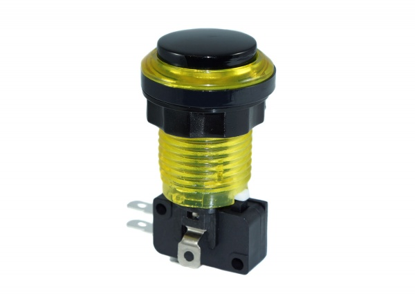 Eclipse Yellow LED Arcade Push button - Black Convex Plunger