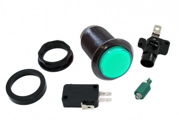 Black Bezel Green LED Arcade Push button