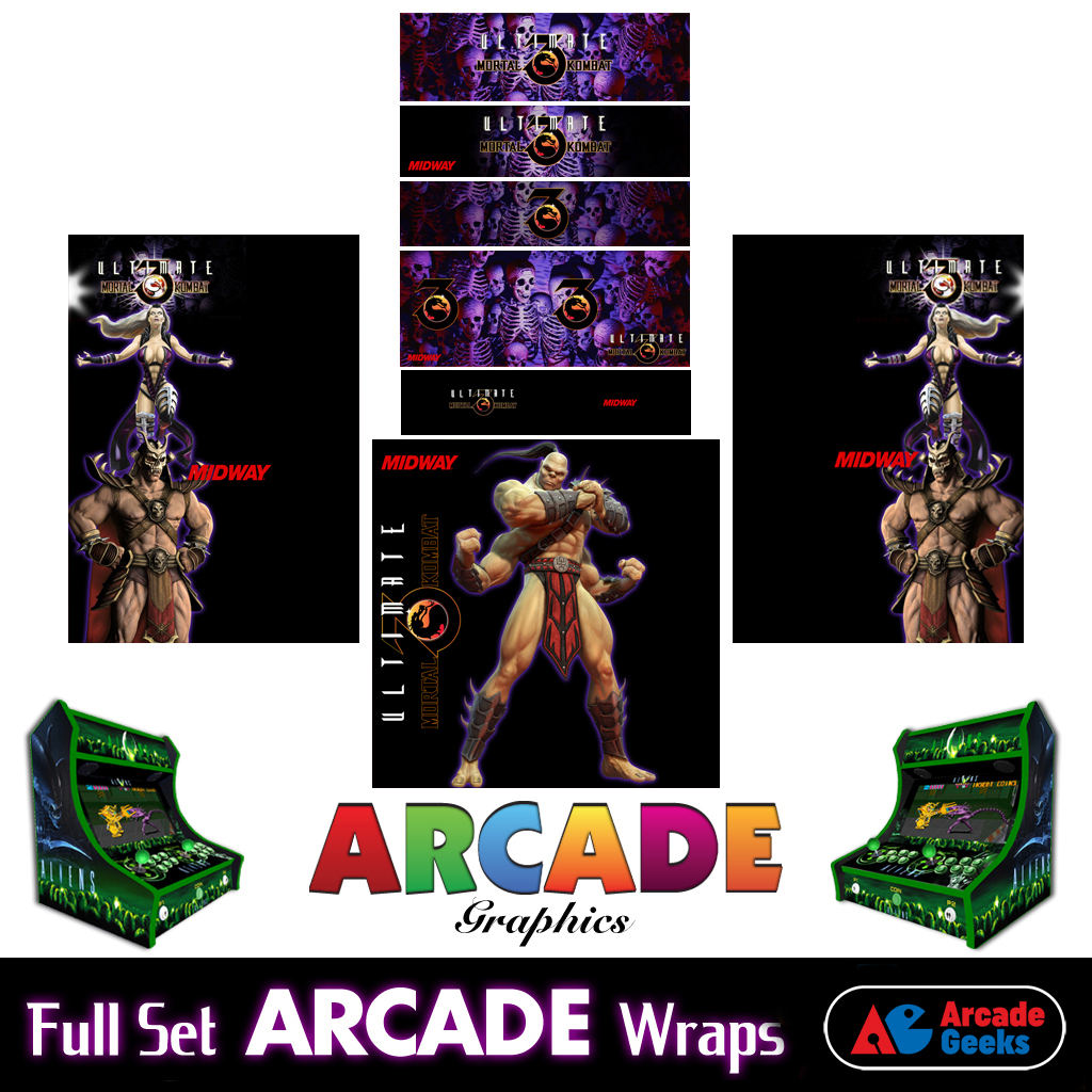 Bartop Arcade Machine Artwork Graphics Full Set – Sticker Graphics – Mortal Kombat 02