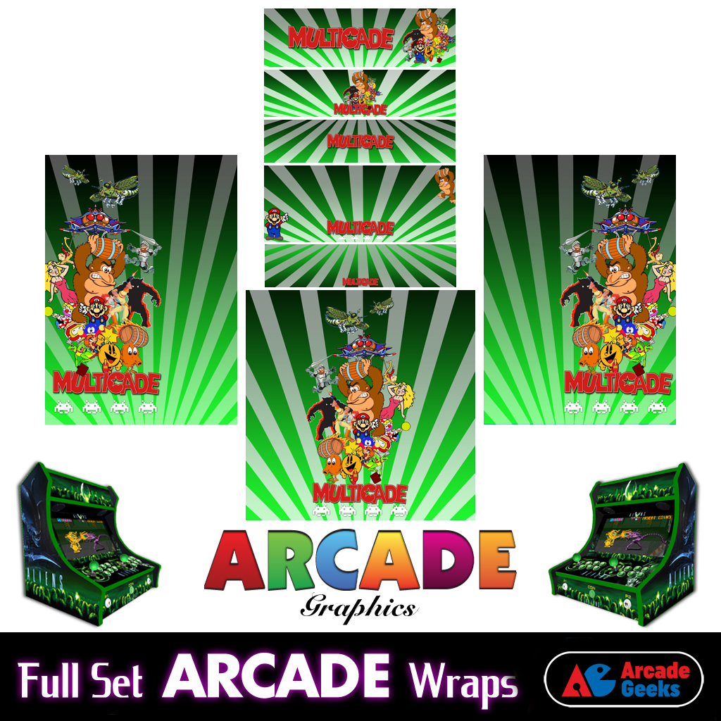 Bartop Arcade Machine Artwork Graphics Full Set – Sticker Graphics – Multicade Green